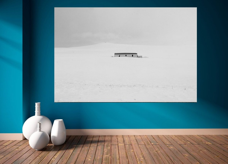 Minimalist Photography, Black and white photography, Minimal, Winter Landscape, Snow, Travel, Fne Art Print, Office Decor, Huge Canvas, ''House In The Snow'' - Image 0