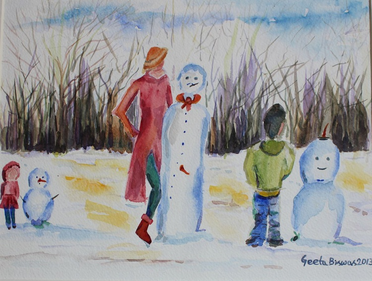 Snowman Competition, concept art, humor, fun, painting in watercolor - Image 0