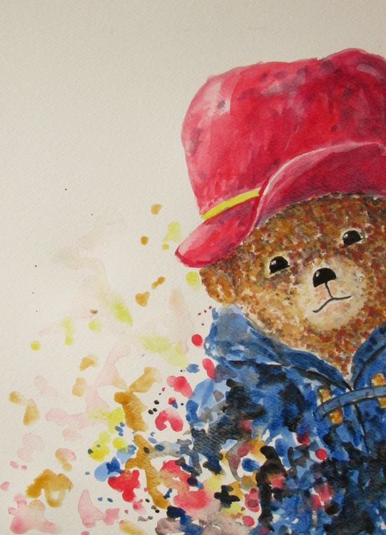 """""""A BEARY GOOD DAY"""", Teddy Bear, gift for children, original watercolour - Image 0"""
