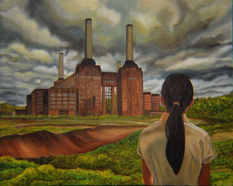 Facing Storm - industrial landscape - pony tail girl - Image 0