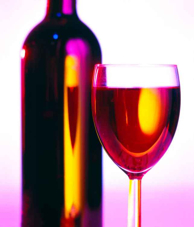Bottle and Glass of Red Wine -