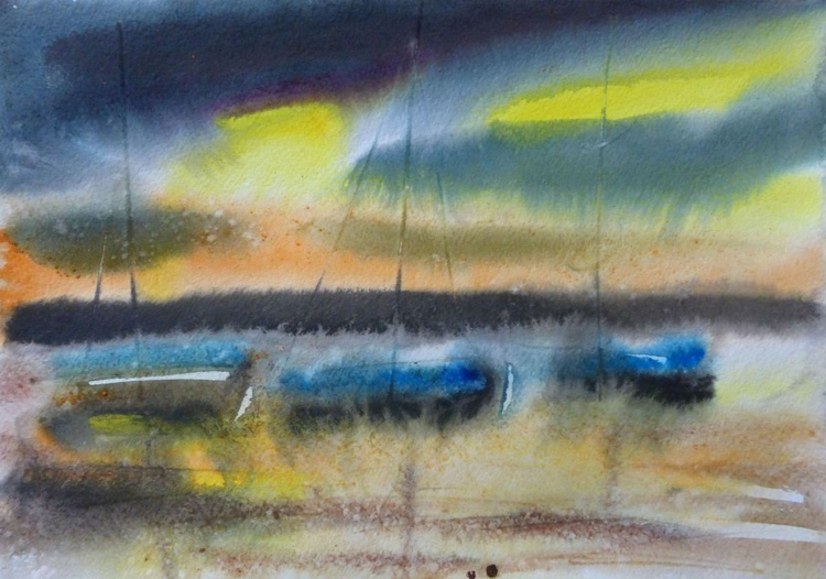 Yachts, original watercolor painting 30x21 cm - Image 0