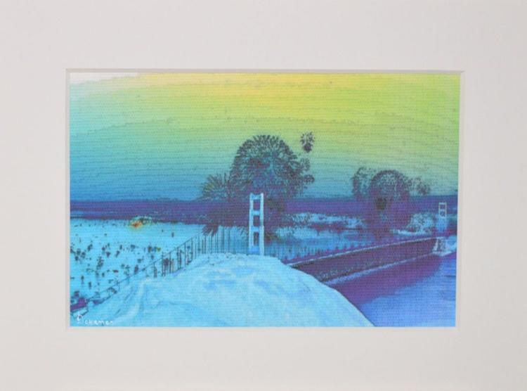"San Francisco Bridge Blue Ink On Canvas Original Artwork 8"" x 6"" - Image 0"