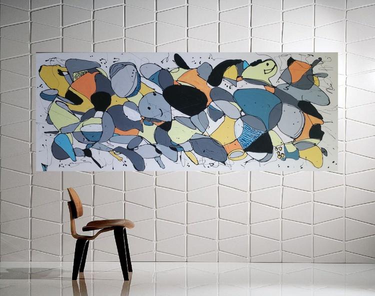 "59x 23,5""( 150x60cm), Galaxies 3 Landscape, canvas painting , art, home painting, colorful art - Image 0"