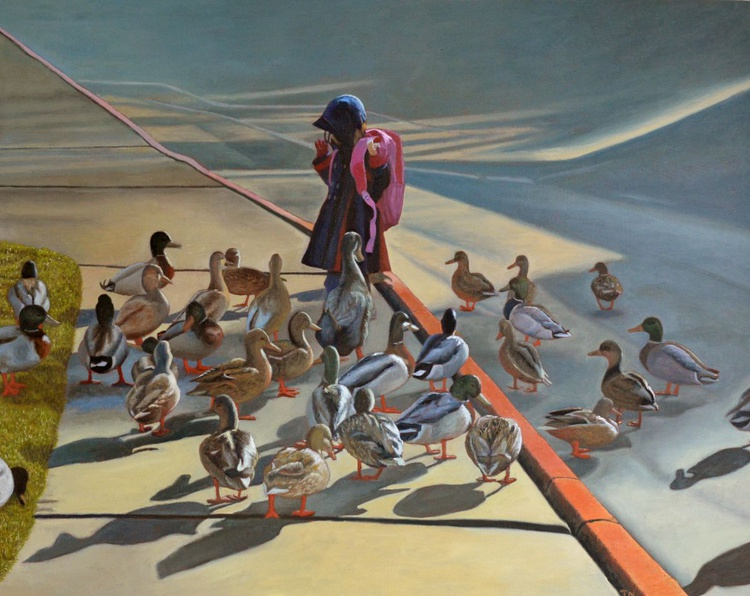 Leader and Followers - Andrew Wyeth inspired - child with ducks - Image 0