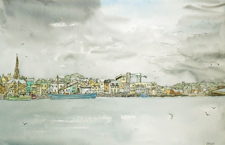 Wexford Town, Ireland - View across the river - An original Ink and Watercolour drawing! - Image 0