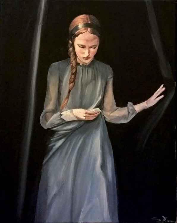 Girl in gray dress -