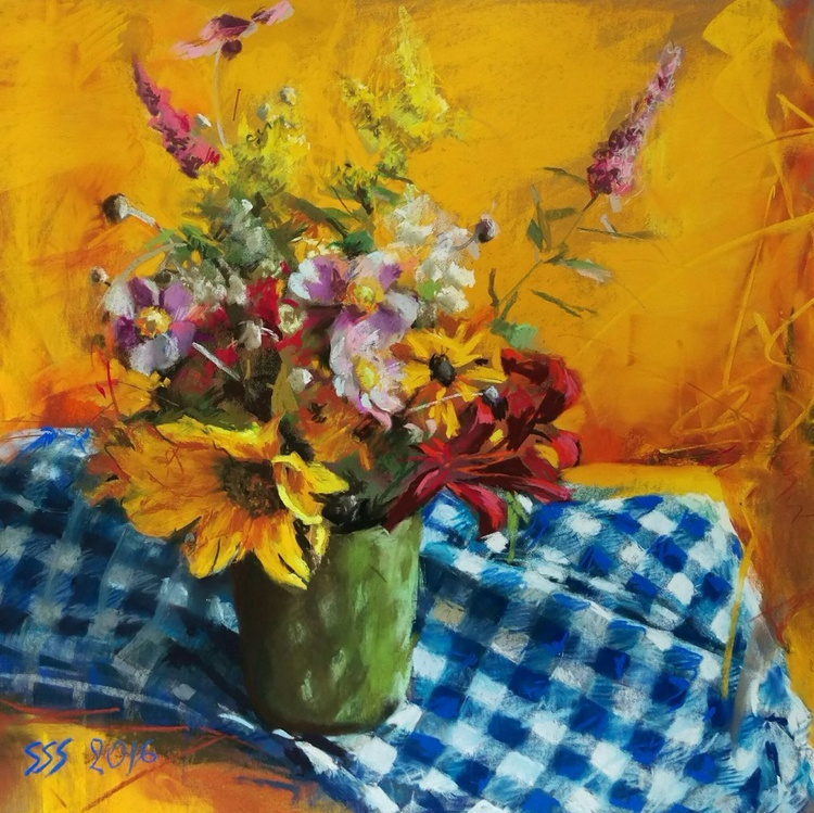 Summer flowers on yellow - Image 0