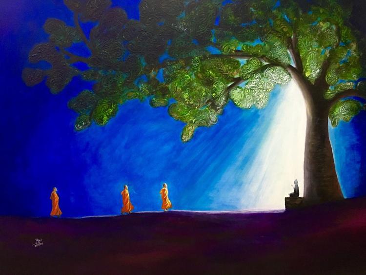 3 MONKS AND MEDITATING BUDDHA - Image 0