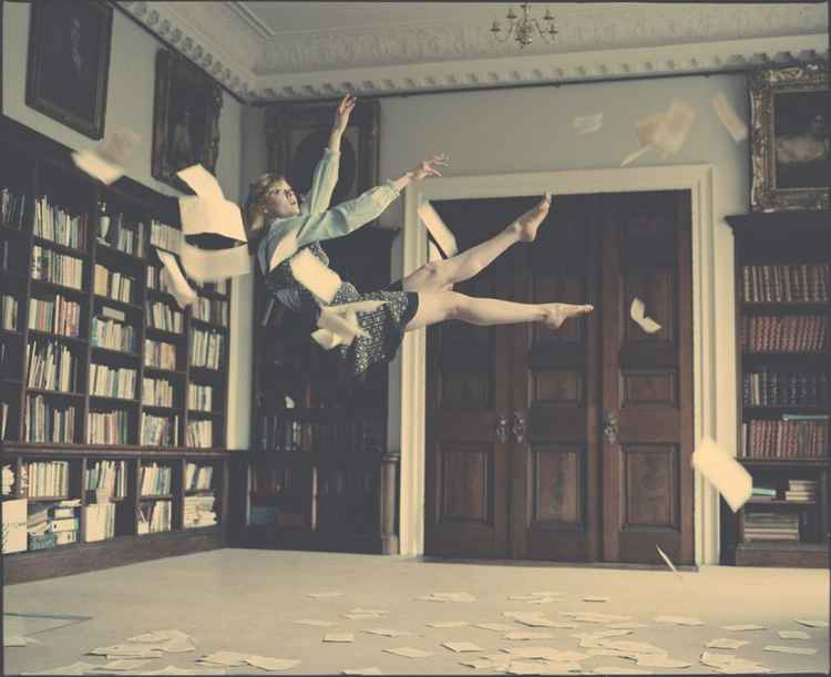 Emily Falling in Library (Large size)
