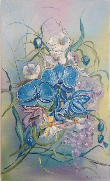 Blue Orchids in a Bouquet - Image 0