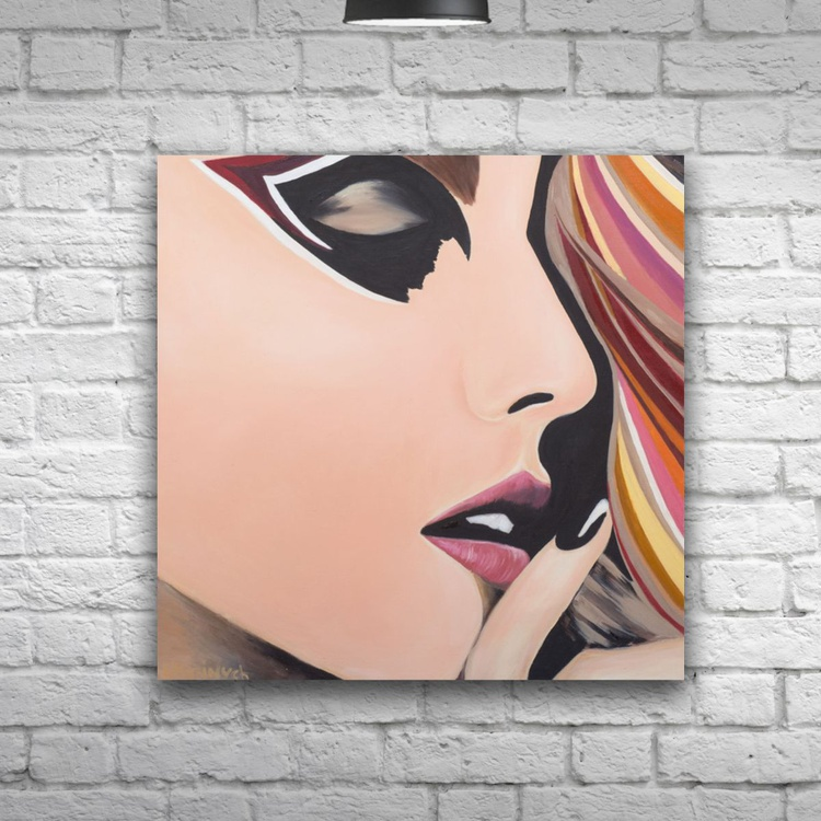 Original artwork Abstract girl, portrait, young woman - Image 0