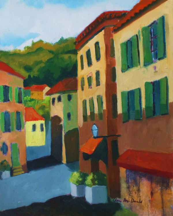 Provencal French Village Streets with Mountain Background