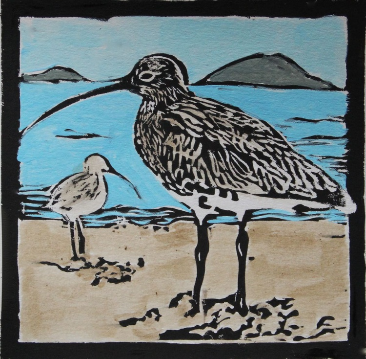 Curlew lino print - Image 0