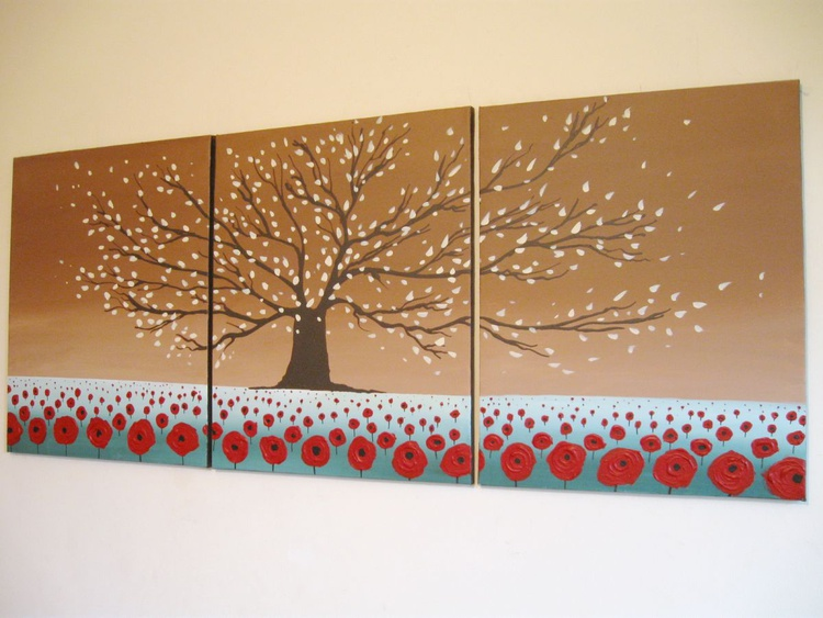 "original abstract landscape ""Blossom Hill"" floral flower artwork painting art canvas - 48 x 20 inches - Image 0"
