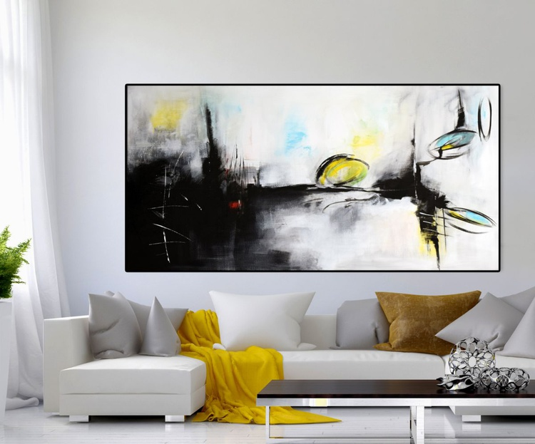 """Deepest Memory""""  Large Abstract painting, 60""""x30"""" original contemporary painting black, white, grey - Image 0"""