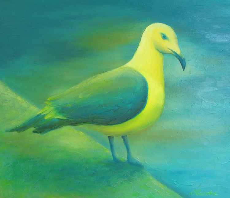 Summer time, seagull, 70x60 cm, original artwork, FREE SHIPPING -