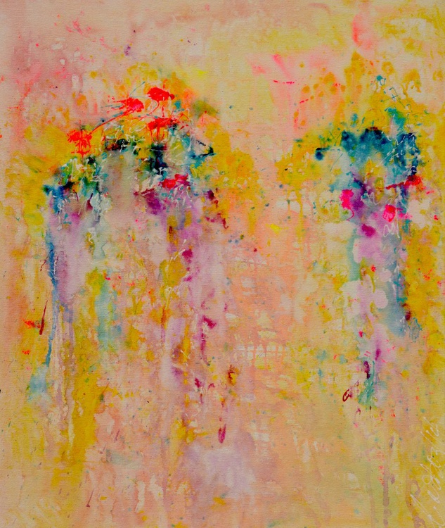 Garden Party Large Canvas Acrylic Painting Modern Ready to Hang Wall Art - Image 0