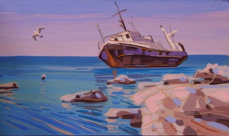 Seagull. Original painting 30x18cm - Image 0