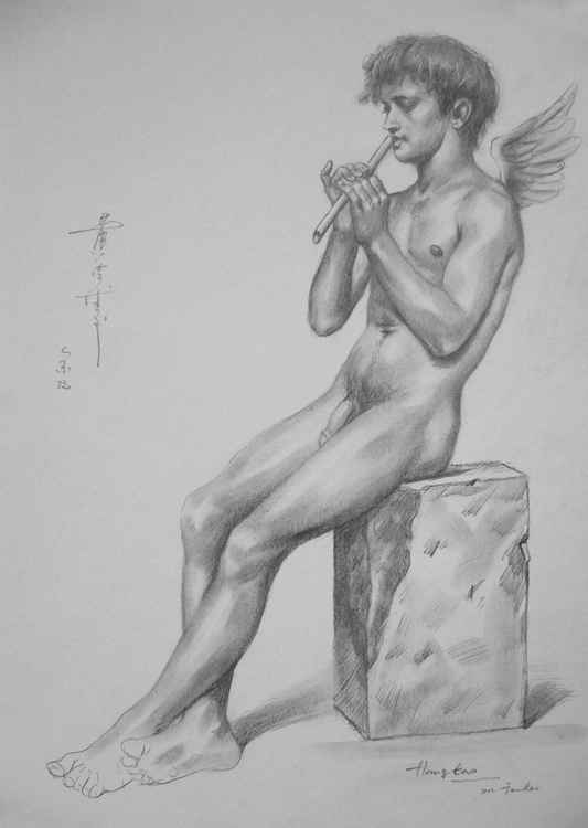 original art drawing charcoal angel of male nude boy on paper #16-8-24