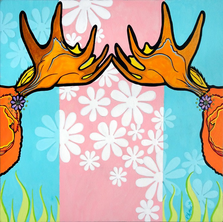 Springtime Moose and Flowers - Image 0
