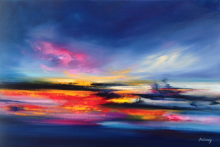 Vibrant Colours - 60 x 90 cm abstract landscape oil painting in pink, blue and red - Image 0