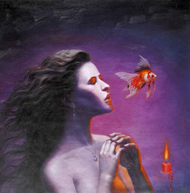 original oil painting art portrait of beautiful girl with goldfish on panel #11-10-04 -