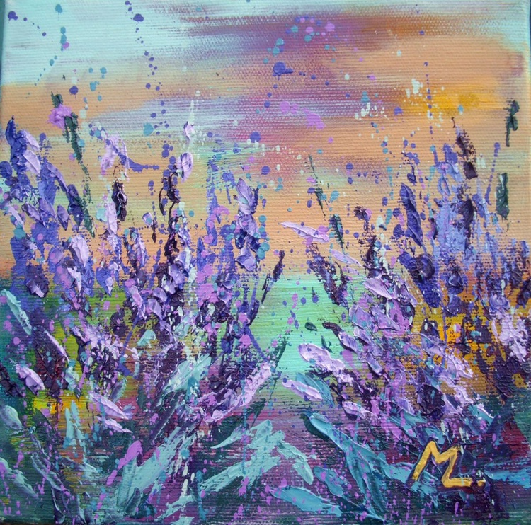 """ LAVENDER FIELDS "" - original oil painting on canvas, PALETTE KNIFE - Image 0"