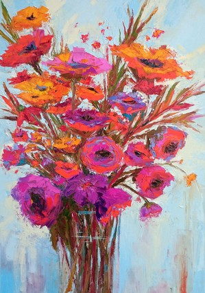 Orange Blossom, Colorful flowers, Impressionist artwork (2016) Oil painting by Patricia Awapara