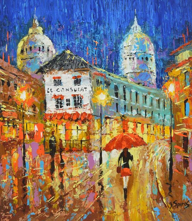 """Paris evening  - Small size palette knife Painting, Size: 35cm x 40cm, (14""""x 16"""") - Image 0"""