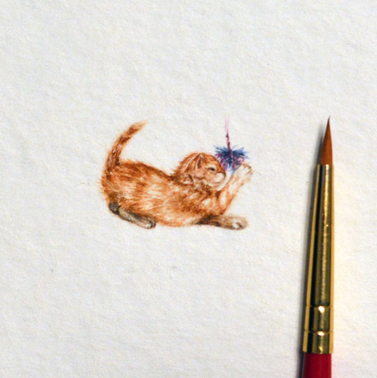 Kitten Tiny watercolor painting - Image 0