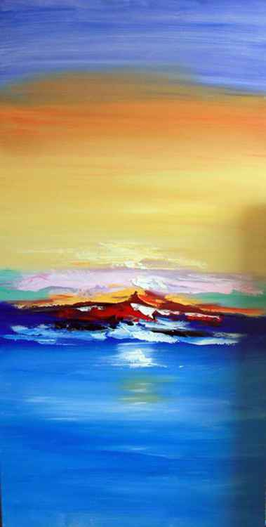Out to Sea - Abstract Acrylic Art Painting - 28x55 inch, 2015 [Discounted Sale]