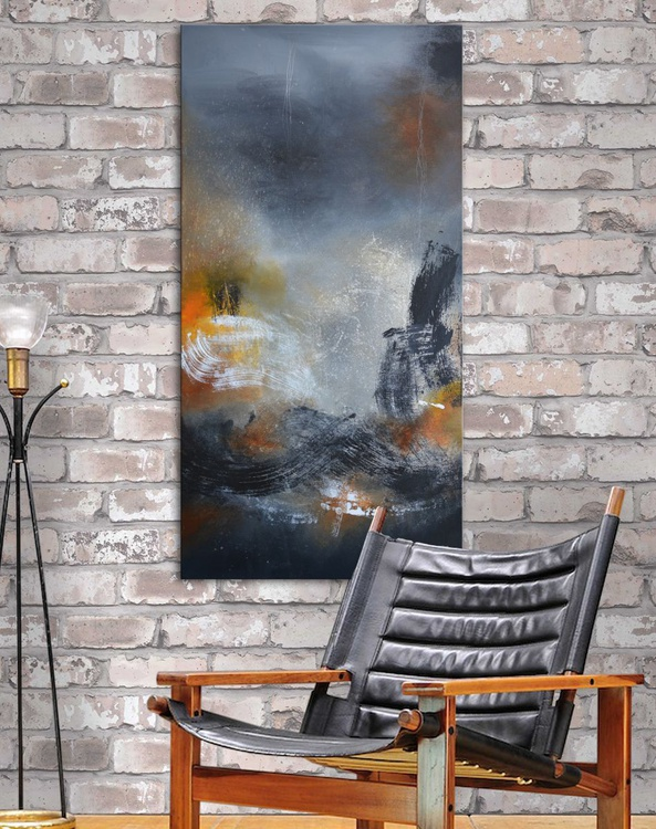 Place VIII -  abstract painting black, white and grey on canvas - Image 0