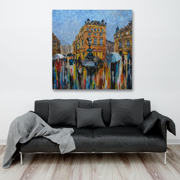 """Piccadilly Circus - Large Modern Contemporary London Cityscape Ready to Hang Painting 35 x 35 """" - Image 0"""