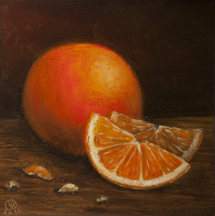 Oranges (15x15cm) original oil painting still life realistic vintage style small gift kitchen decor - Image 0