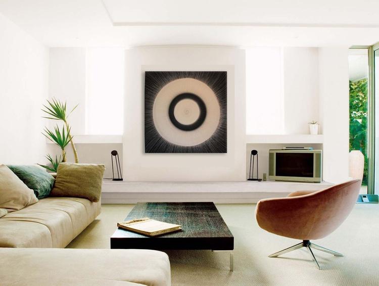 Noir et Blanc II - Monochrome Study, Acrylic Abstract - HUGE 82 x 82cm - Image 0