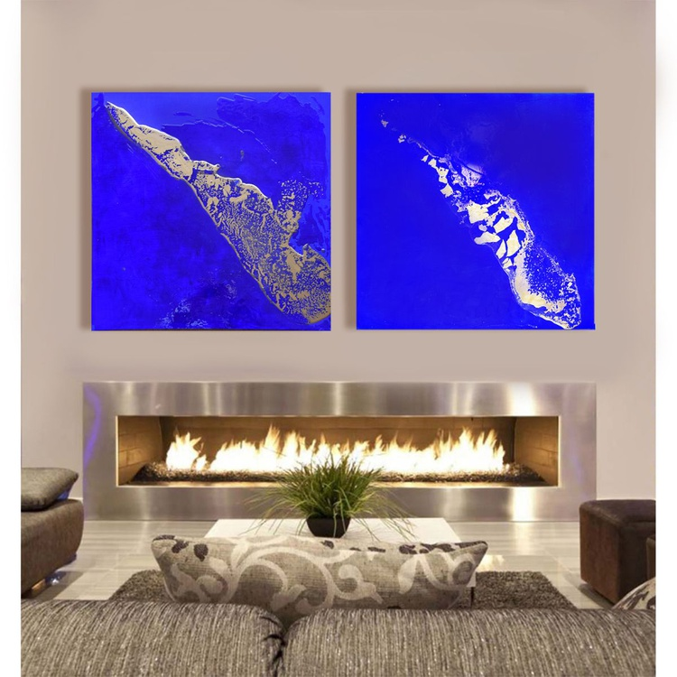 Flames / 120 cm x 60 cm Large Abstract Office Home Decor - Image 0