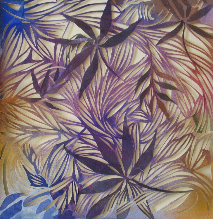 colorful leaves watercolor with paper cut - Image 0