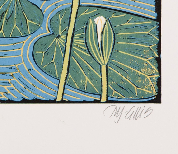 Water Lily, reduction linocut - Image 0