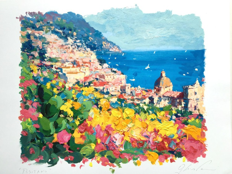Positano Artwork, Amalfi Italy Art, Flowers Wall Art, Home Decor, Small Painting, Bedroom Decor, Seascape Art,Gift for Her, Gift for Her - Image 0