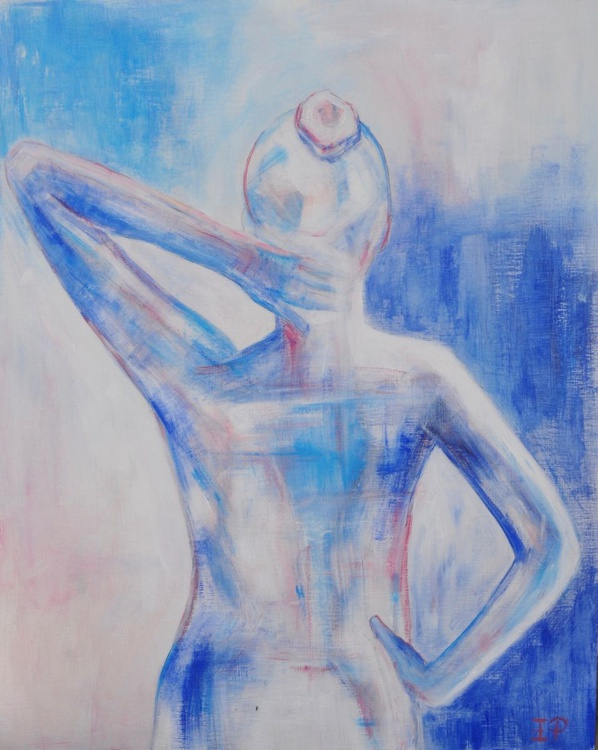Cotton Candy Nude Female Figure ORIGINAL SIGNED abstract painting-Modern acrylic by Emily Powell - Contemporary figurative artwork - Image 0