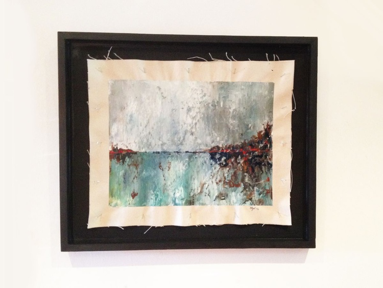 Cold Day at the Beach - Original One of a Kind Abstract Landscape Oil Painting - Image 0
