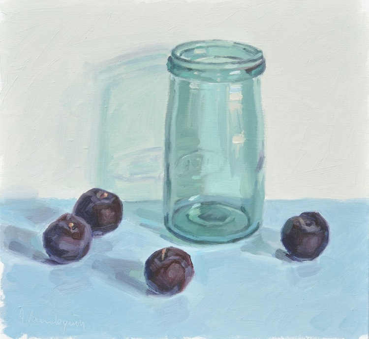 Old blue glass jar and plums - Image 0