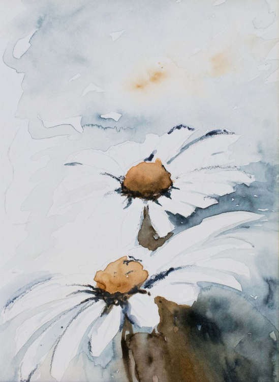 """Daisies"", original watercolour painting, 21x14.8 cm, ready to hang - Image 0"