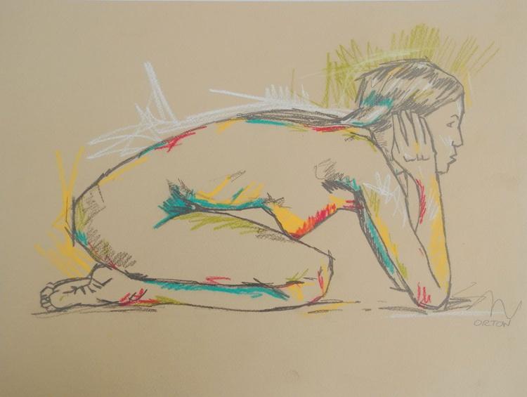 Original Nude Art Drawing Female Nude Life Drawing - Image 0