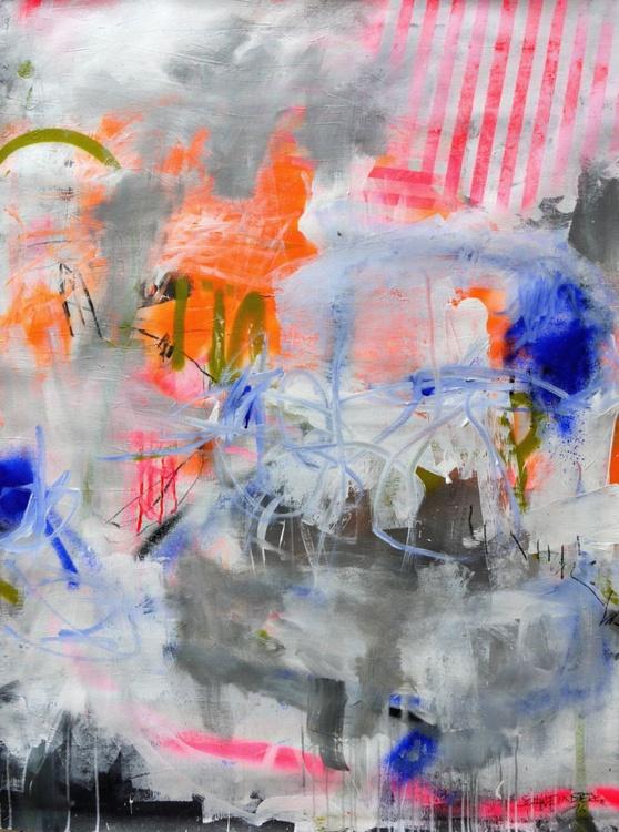 Wonderland #1 | large abstract | white grey orange pink green blue | Work No. 2016.42 - Image 0