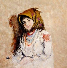 Portrait of a little peasant girl (2) by Cristina Mihailescu