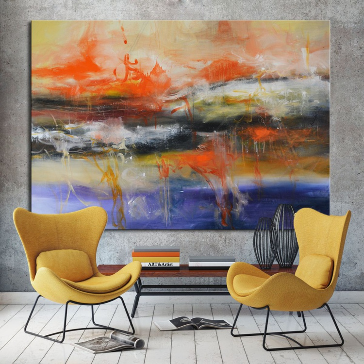 Controlled Chaos II- Large Original Abstract Painting Blue Orange Art - Image 0