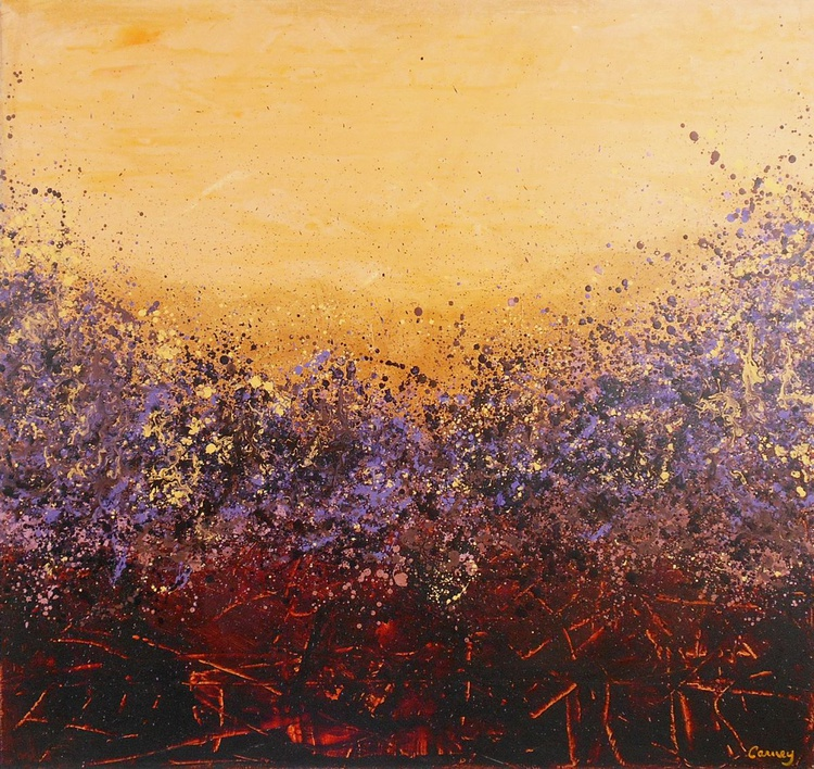 Amber Sky - Large floral abstract painting on canvas - Image 0