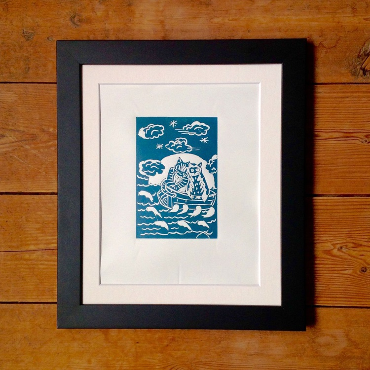 Owl and the Pussycat, Framed, Original Linoprint, 2016 - Image 0